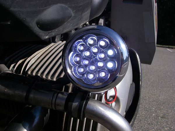Led aux light options adventure rider here is a closeup showing the mounting on the crash bar using a stainless steel tubing clamp from a boating store aloadofball Gallery
